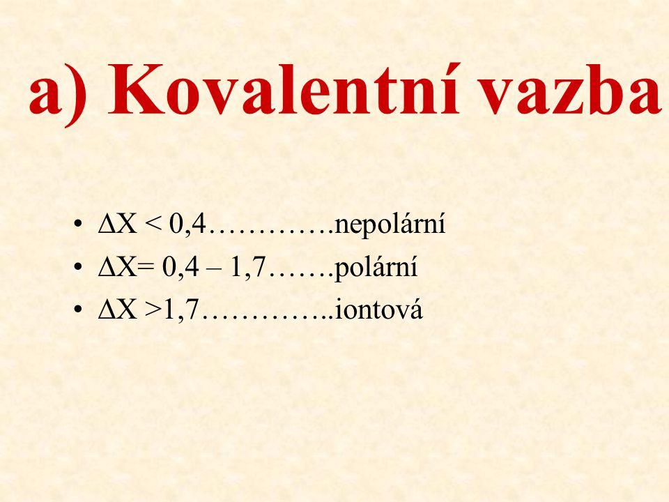 ∆X < 0,4………….nepolární ∆X= 0,4 – 1,7…….polární ∆X >1,7…………..iontová a) Kovalentní vazba