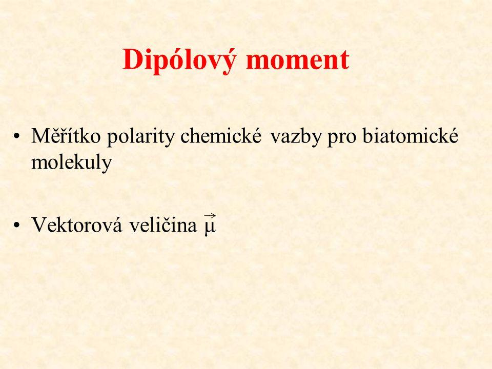 Dipólový moment Měřítko polarity chemické vazby pro biatomické molekuly Vektorová veličina μ
