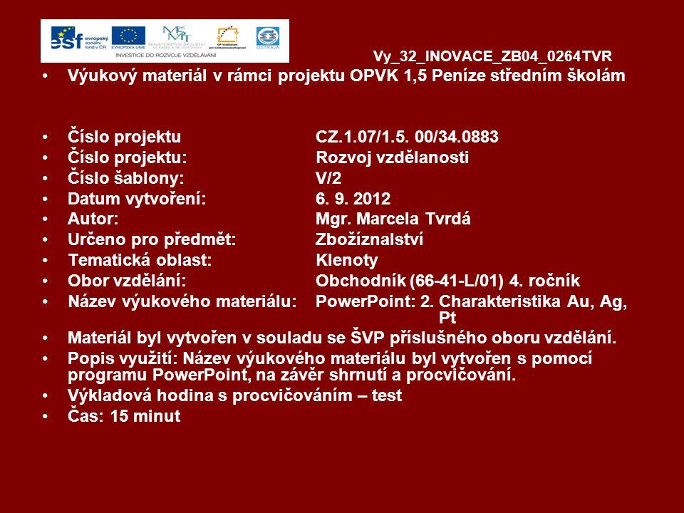 Vy_32_INOVACE_ZB04_0264TVR Výukový materiál v rámci projektu OPVK 1,5 Peníze středním školám Číslo projektuCZ.1.07/1.5.