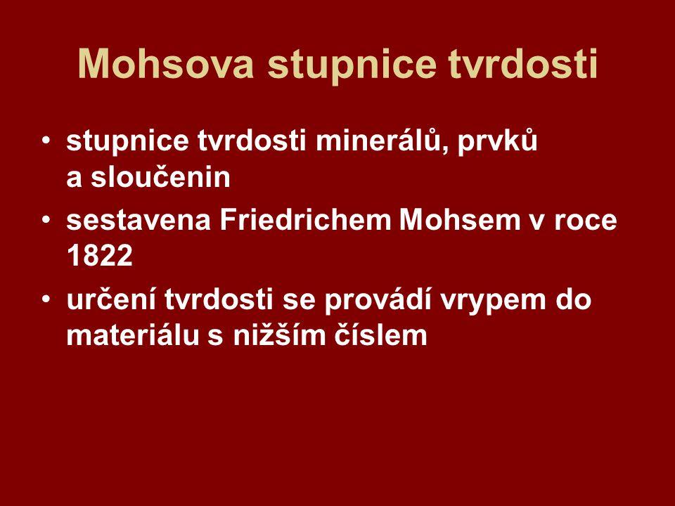 Mohsova stupnice tvrdosti stupnice tvrdosti minerálů, prvků a sloučenin sestavena Friedrichem Mohsem v roce 1822 určení tvrdosti se provádí vrypem do materiálu s nižším číslem