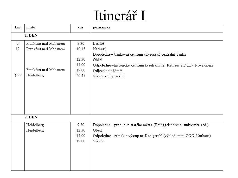 Itinerář I kmmístočaspoznámky 1. DEN 0 17 100 Frankfurt nad Mohanem Heidelberg 9:30 10:15 12:30 14:00 19:00 20:45 Letiště Nádraží Dopoledne – bankovní