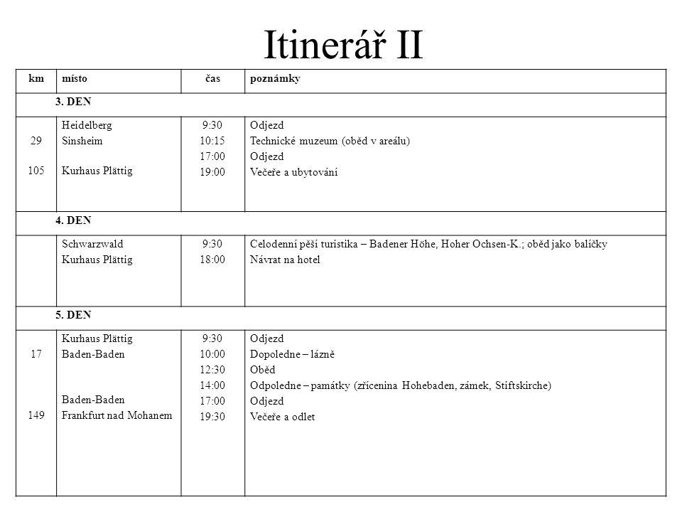 Itinerář II kmmístočaspoznámky 3. DEN 29 105 Heidelberg Sinsheim Kurhaus Plättig 9:30 10:15 17:00 19:00 Odjezd Technické muzeum (oběd v areálu) Odjezd