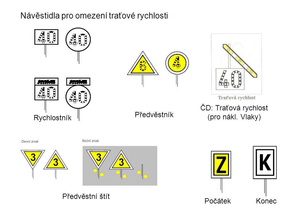 Návěstidla pro omezení traťové rychlosti Rychlostník ČD: Traťová rychlost (pro nákl.