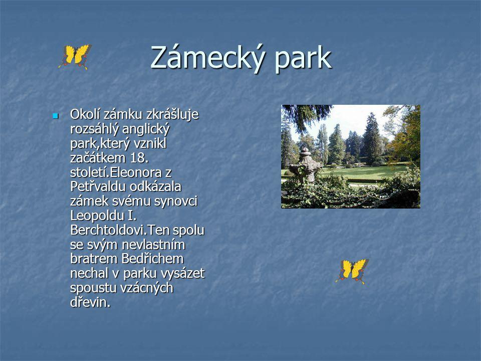 Zámecký park Okolí zámku zkrášluje rozsáhlý anglický park,který vznikl začátkem 18. století.Eleonora z Petřvaldu odkázala zámek svému synovci Leopoldu