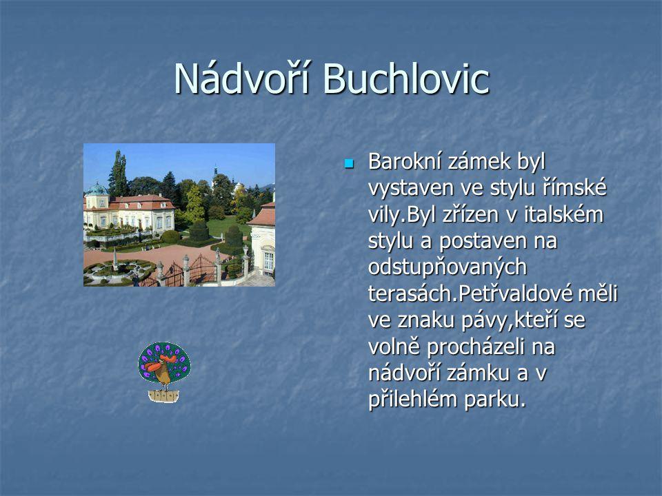Nádvoří Buchlovic Barokní zámek byl vystaven ve stylu římské vily.Byl zřízen v italském stylu a postaven na odstupňovaných terasách.Petřvaldové měli ve znaku pávy,kteří se volně procházeli na nádvoří zámku a v přilehlém parku.