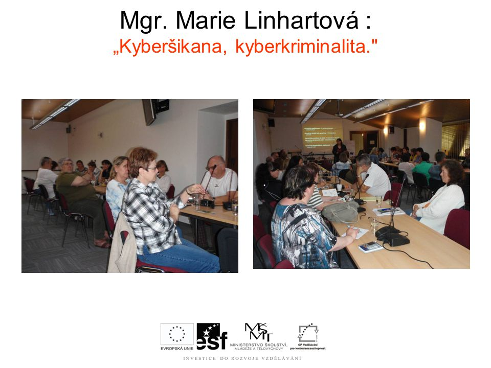 "Mgr. Marie Linhartová : ""Kyberšikana, kyberkriminalita."