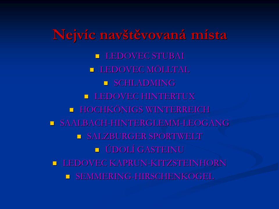 Nejvíc navštěvovaná místa LEDOVEC STUBAI LEDOVEC MÖLLTAL SCHLADMING LEDOVEC HINTERTUX HOCHKÖNIGS WINTERREICH SAALBACH-HINTERGLEMM-LEOGANG SALZBURGER S