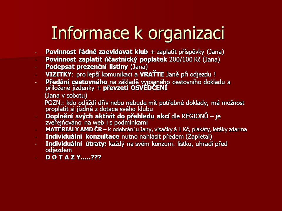 Informace k organizaci - Povinnost řádně zaevidovat klub + zaplatit příspěvky (Jana) - Povinnost zaplatit účastnický poplatek 200/100 Kč (Jana) - Podepsat prezenční listiny (Jana) - VIZITKY: pro lepší komunikaci a VRAŤTE Janě při odjezdu .
