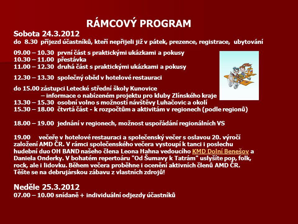 RÁMCOVÝ PROGRAM Sobota 24.3.2012 do 8.30 příjezd účastníků, kteří nepřijeli již v pátek, prezence, registrace, ubytování 09.00 – 10.30 první část s praktickými ukázkami a pokusy 10.30 – 11.00 přestávka 11.00 – 12.30 druhá část s praktickými ukázkami a pokusy 12.30 – 13.30 společný oběd v hotelové restauraci do 15.00 zástupci Letecké střední školy Kunovice – informace o nabízeném projektu pro kluby Zlínského kraje 13.30 – 15.30 osobní volno s možností návštěvy Luhačovic a okolí 15.30 – 18.00 čtvrtá část - k rozpočtům a aktivitám v regionech (podle regionů) 18.00 – 19.00 jednání v regionech, možnost uspořádání regionálních VS 19.00 večeře v hotelové restauraci a společenský večer s oslavou 20.