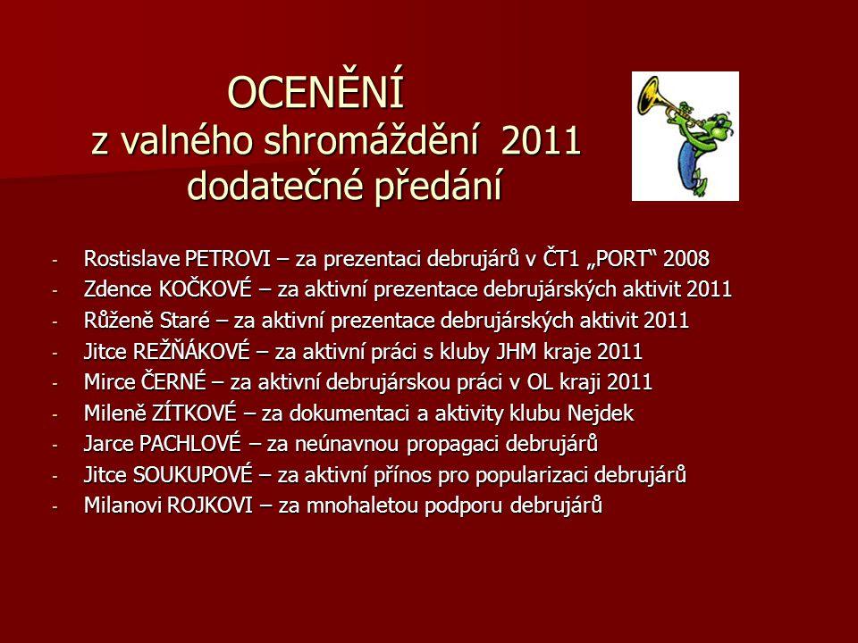 OCENĚNÍ z valného shromáždění 2011 dodatečné předání OCENĚNÍ z valného shromáždění 2011 dodatečné předání - Rostislave PETROVI – za prezentaci debrujá
