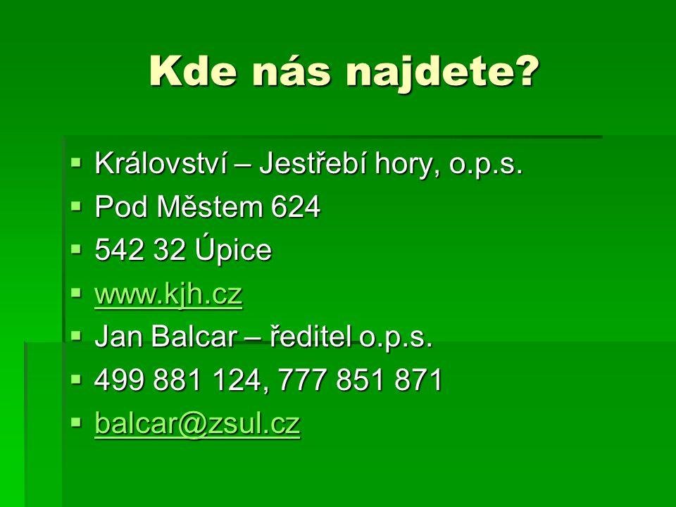 Kde nás najdete?  Království – Jestřebí hory, o.p.s.  Pod Městem 624  542 32 Úpice  www.kjh.cz www.kjh.cz  Jan Balcar – ředitel o.p.s.  499 881