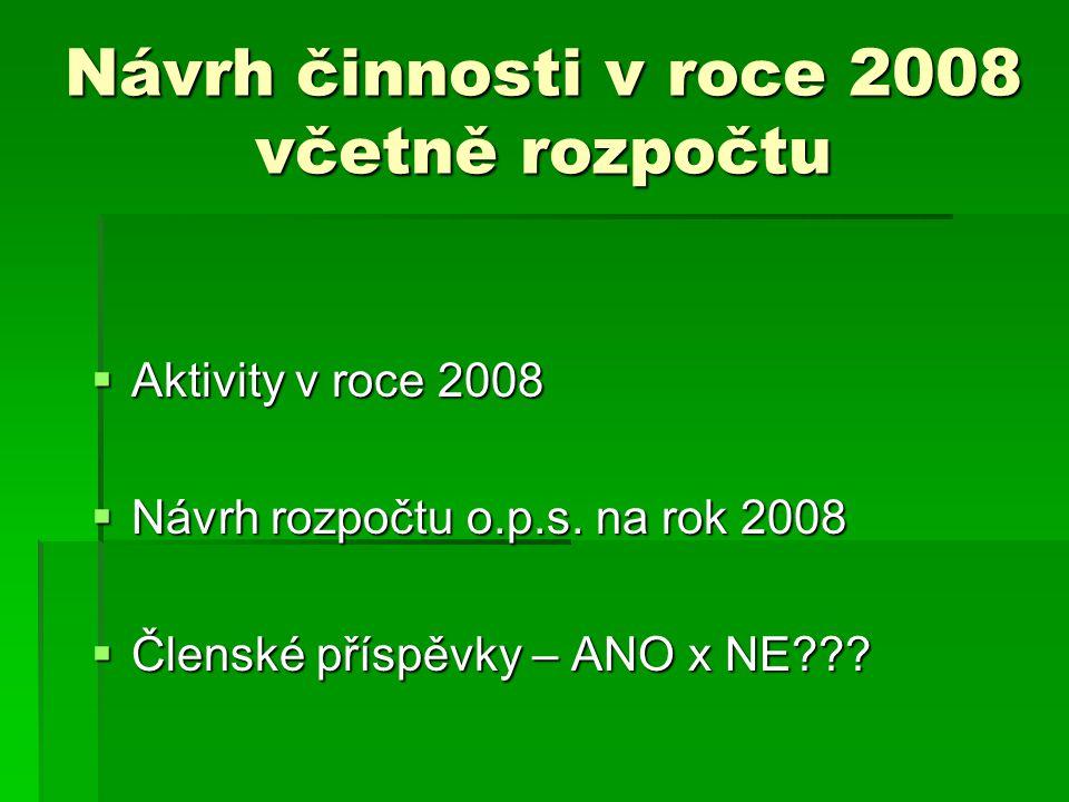 Návrh činnosti v roce 2008 včetně rozpočtu  Aktivity v roce 2008  Návrh rozpočtu o.p.s. na rok 2008  Členské příspěvky – ANO x NE???