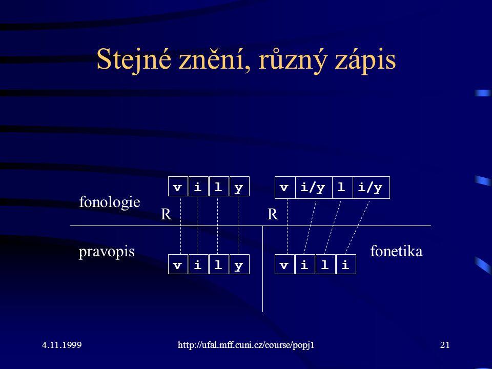 4.11.1999http://ufal.mff.cuni.cz/course/popj121 Stejné znění, různý zápis fonologie pravopis vily vily R vi/yl vili R fonetika