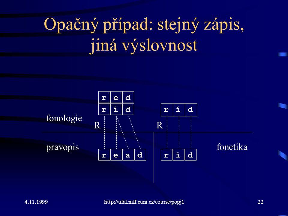 4.11.1999http://ufal.mff.cuni.cz/course/popj122 Opačný případ: stejný zápis, jiná výslovnost fonologie pravopis ríd read R ríd ríd R fonetika red