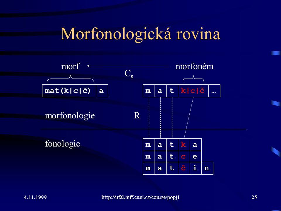 4.11.1999http://ufal.mff.cuni.cz/course/popj125 Morfonologická rovina morfonologie fonologie m R atka matce matčin matk|c|č… morfoném mat(k|c|č)a morf