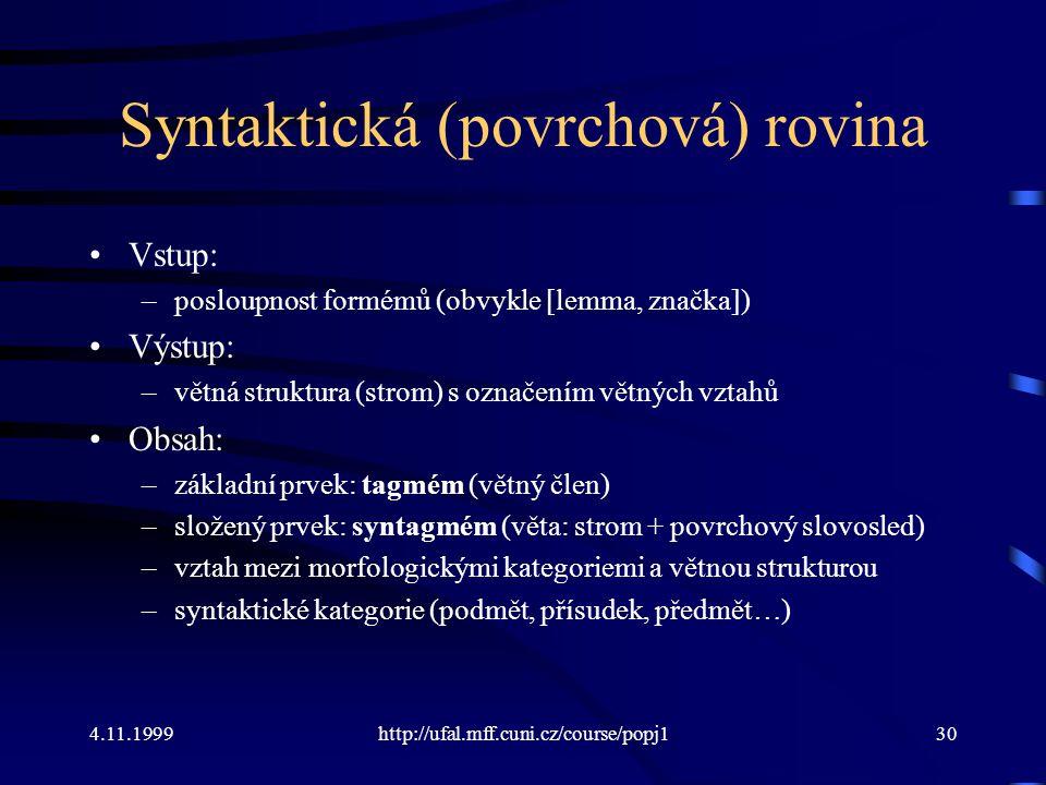 4.11.1999http://ufal.mff.cuni.cz/course/popj130 Syntaktická (povrchová) rovina Vstup: –posloupnost formémů (obvykle [lemma, značka]) Výstup: –větná struktura (strom) s označením větných vztahů Obsah: –základní prvek: tagmém (větný člen) –složený prvek: syntagmém (věta: strom + povrchový slovosled) –vztah mezi morfologickými kategoriemi a větnou strukturou –syntaktické kategorie (podmět, přísudek, předmět…)