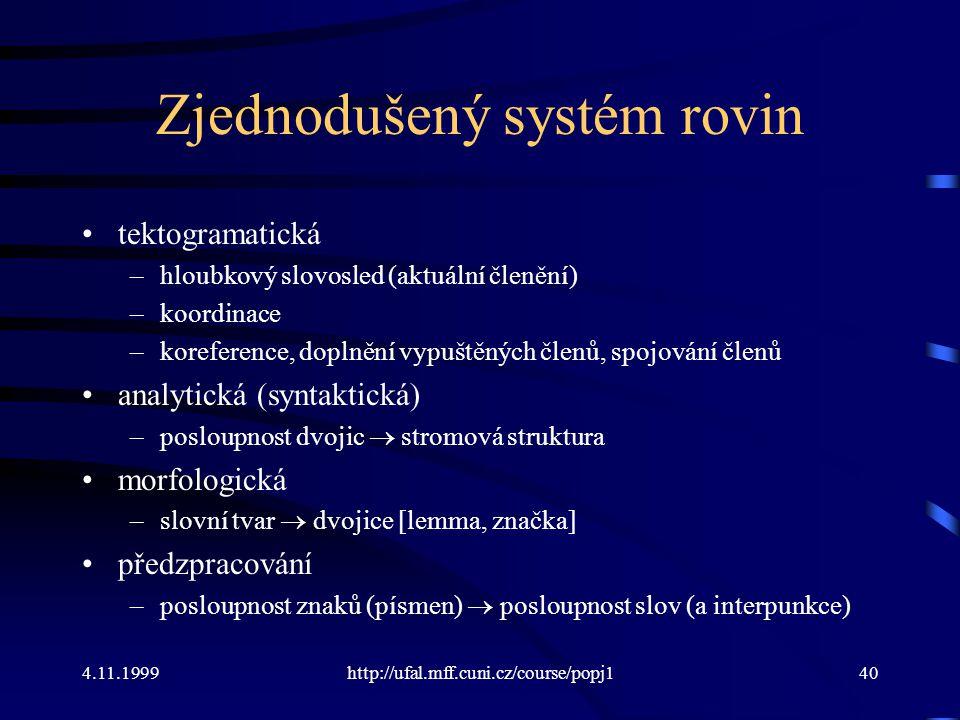 4.11.1999http://ufal.mff.cuni.cz/course/popj140 Zjednodušený systém rovin tektogramatická –hloubkový slovosled (aktuální členění) –koordinace –korefer