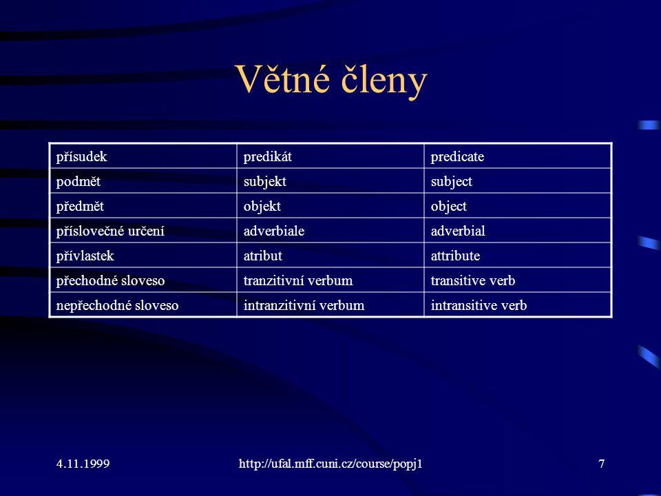 4.11.1999http://ufal.mff.cuni.cz/course/popj17 Větné členy přísudekpredikátpredicate podmětsubjektsubject předmětobjektobject příslovečné určeníadverb