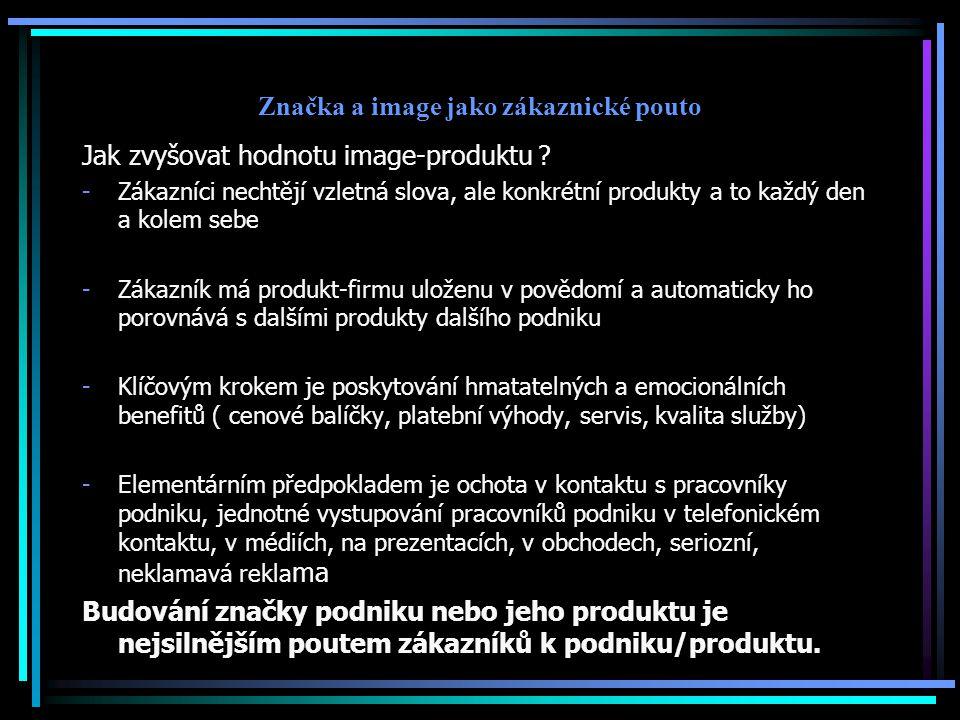 Značka a image jako zákaznické pouto Jak zvyšovat hodnotu image-produktu .
