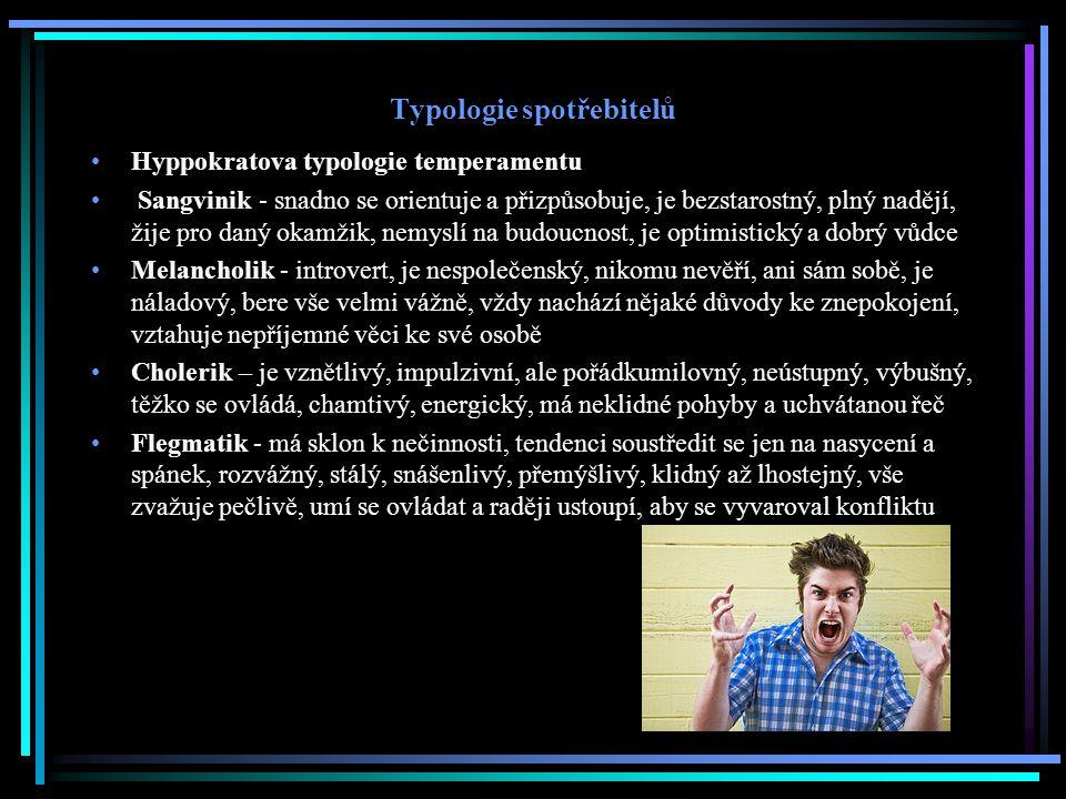 Typologie spotřebitelů Hyppokratova typologie temperamentu Sangvinik - snadno se orientuje a přizpůsobuje, je bezstarostný, plný nadějí, žije pro daný okamžik, nemyslí na budoucnost, je optimistický a dobrý vůdce Melancholik - introvert, je nespolečenský, nikomu nevěří, ani sám sobě, je náladový, bere vše velmi vážně, vždy nachází nějaké důvody ke znepokojení, vztahuje nepříjemné věci ke své osobě Cholerik – je vznětlivý, impulzivní, ale pořádkumilovný, neústupný, výbušný, těžko se ovládá, chamtivý, energický, má neklidné pohyby a uchvátanou řeč Flegmatik - má sklon k nečinnosti, tendenci soustředit se jen na nasycení a spánek, rozvážný, stálý, snášenlivý, přemýšlivý, klidný až lhostejný, vše zvažuje pečlivě, umí se ovládat a raději ustoupí, aby se vyvaroval konfliktu