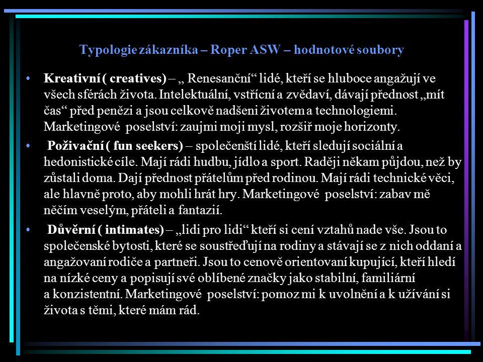 """Typologie zákazníka – Roper ASW – hodnotové soubory Kreativní ( creatives) – """" Renesanční lidé, kteří se hluboce angažují ve všech sférách života."""