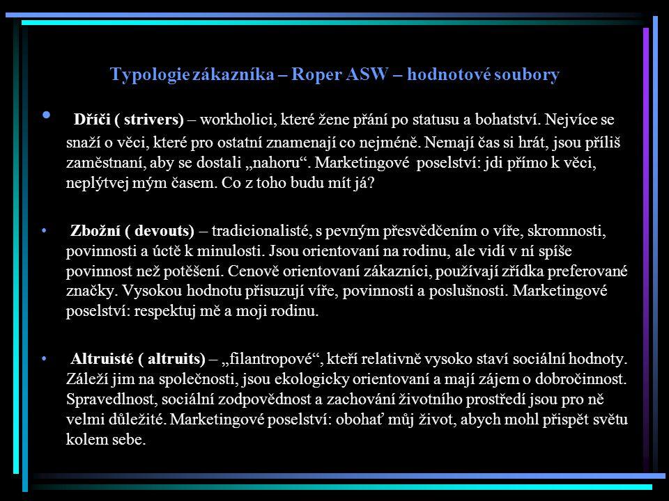 Typologie zákazníka – Roper ASW – hodnotové soubory Dříči ( strivers) – workholici, které žene přání po statusu a bohatství.