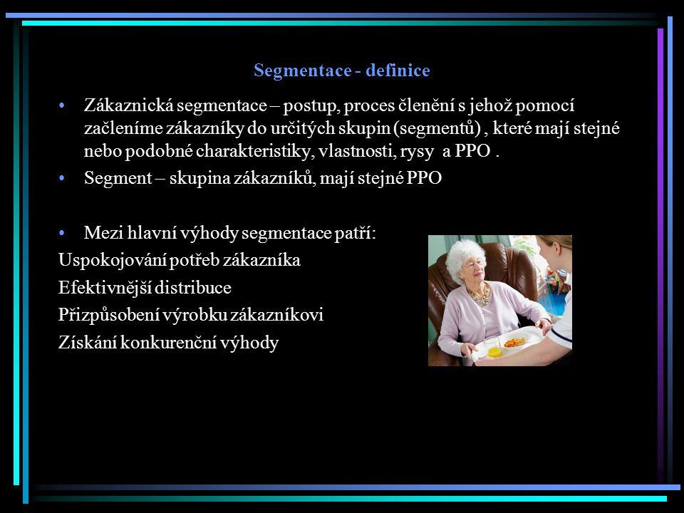 Segmentace - definice Zákaznická segmentace – postup, proces členění s jehož pomocí začleníme zákazníky do určitých skupin (segmentů), které mají stejné nebo podobné charakteristiky, vlastnosti, rysy a PPO.