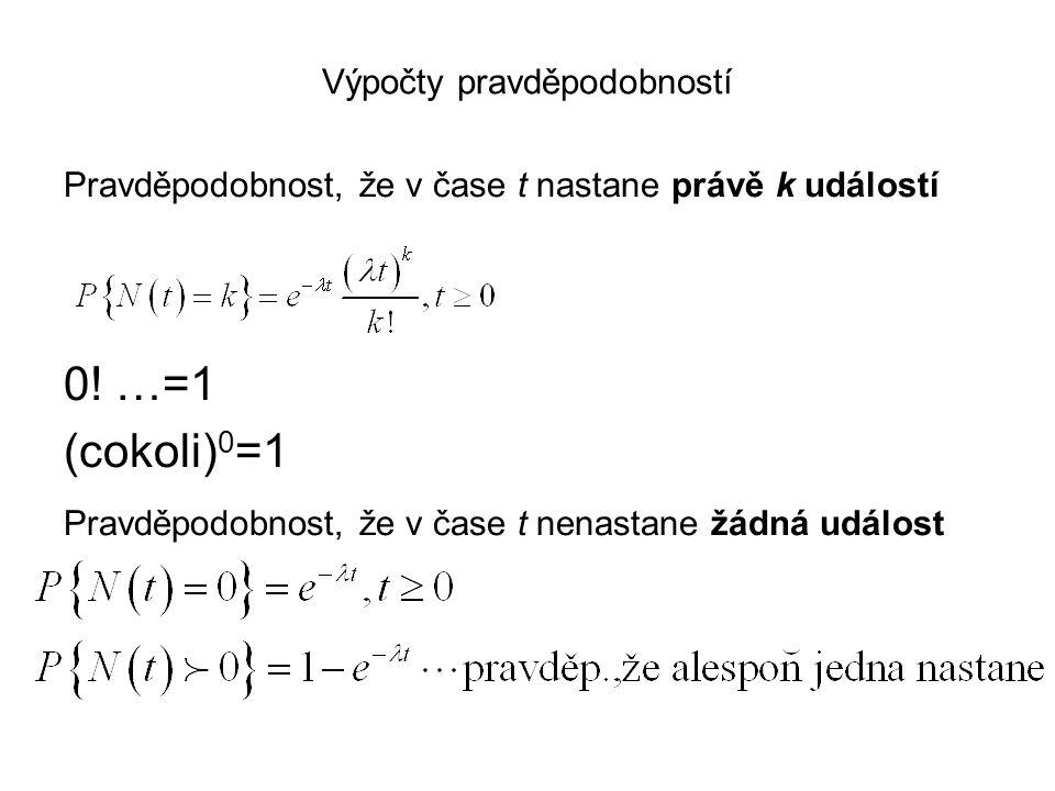 Výpočty pravděpodobností Pravděpodobnost, že v čase t nastane právě k událostí 0! …=1 (cokoli) 0 =1 Pravděpodobnost, že v čase t nenastane žádná událo