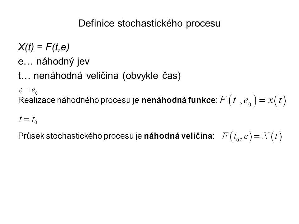 Definice stochastického procesu X(t) = F(t,e) e… náhodný jev t… nenáhodná veličina (obvykle čas) Realizace náhodného procesu je nenáhodná funkce: Průs