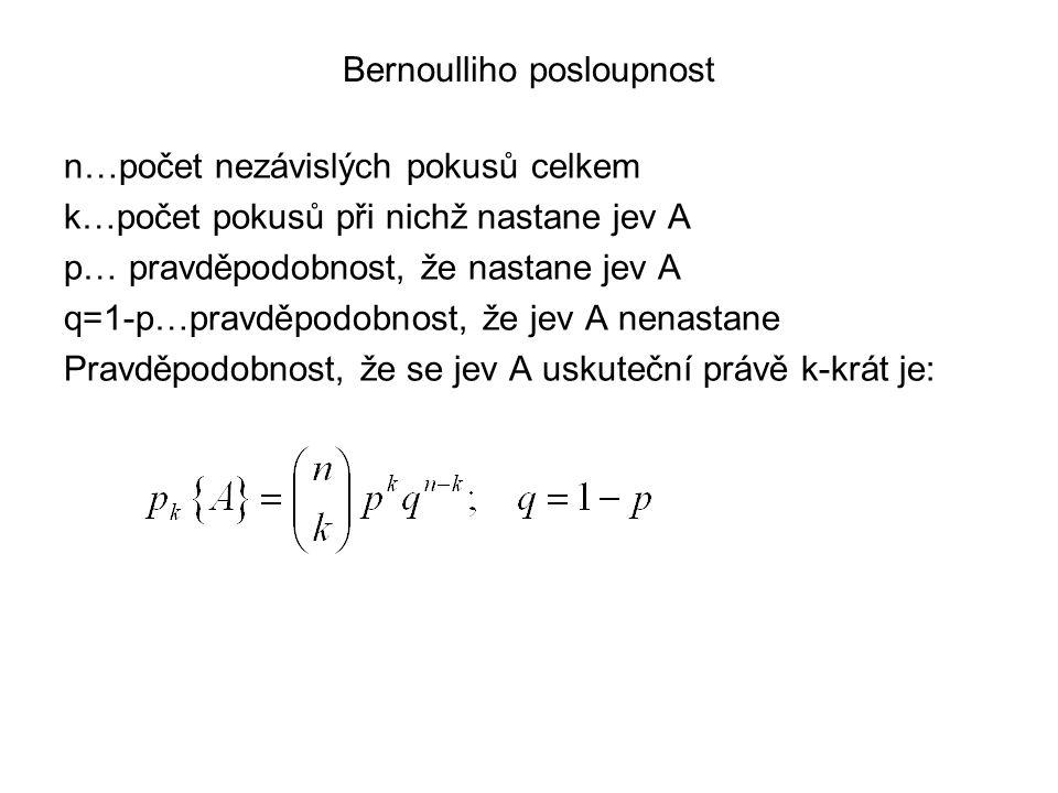 Bernoulliho posloupnost n…počet nezávislých pokusů celkem k…počet pokusů při nichž nastane jev A p… pravděpodobnost, že nastane jev A q=1-p…pravděpodo