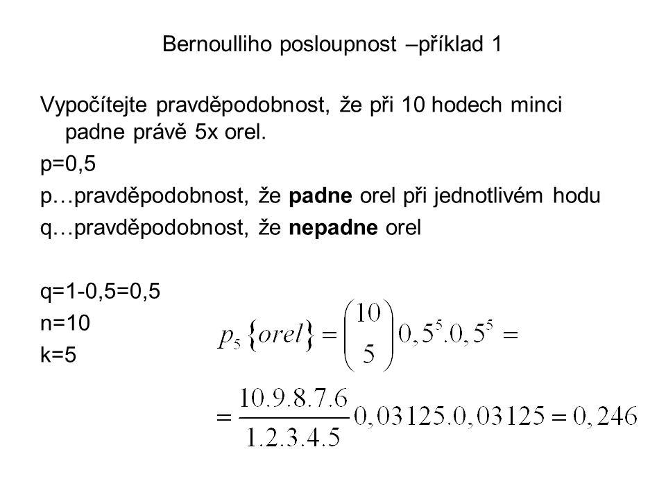 Bernoulliho posloupnost –příklad 1 Vypočítejte pravděpodobnost, že při 10 hodech minci padne právě 5x orel. p=0,5 p…pravděpodobnost, že padne orel při