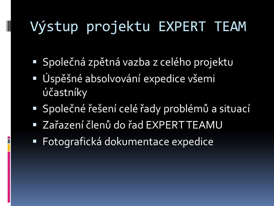Výstup projektu EXPERT TEAM  Společná zpětná vazba z celého projektu  Úspěšné absolvování expedice všemi účastníky  Společné řešení celé řady problémů a situací  Zařazení členů do řad EXPERT TEAMU  Fotografická dokumentace expedice