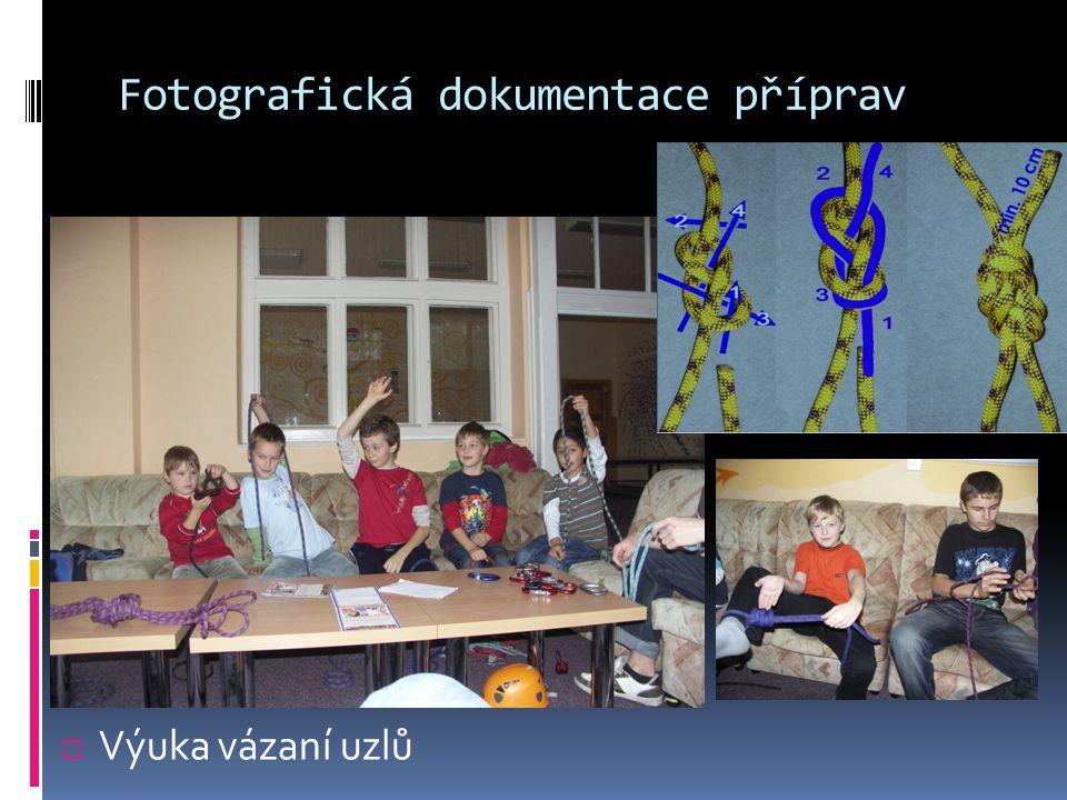 Fotografická dokumentace příprav  Výuka vázaní uzlů