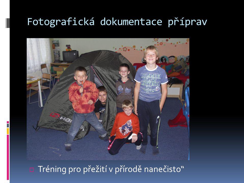 Fotografická dokumentace příprav  Tréning pro přežití v přírodě nanečisto