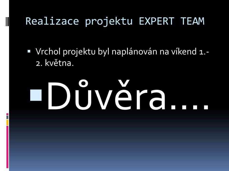 Realizace projektu EXPERT TEAM  Vrchol projektu byl naplánován na víkend 1.- 2. května.  Důvěra….