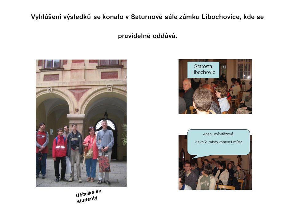 Vyhlášení výsledků se konalo v Saturnově sále zámku Libochovice, kde se pravidelně oddává.