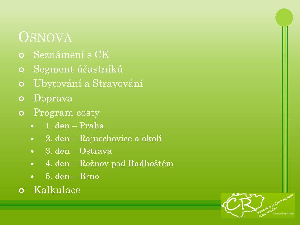 O SNOVA Seznámení s CK Segment účastníků Ubytování a Stravování Doprava Program cesty 1.