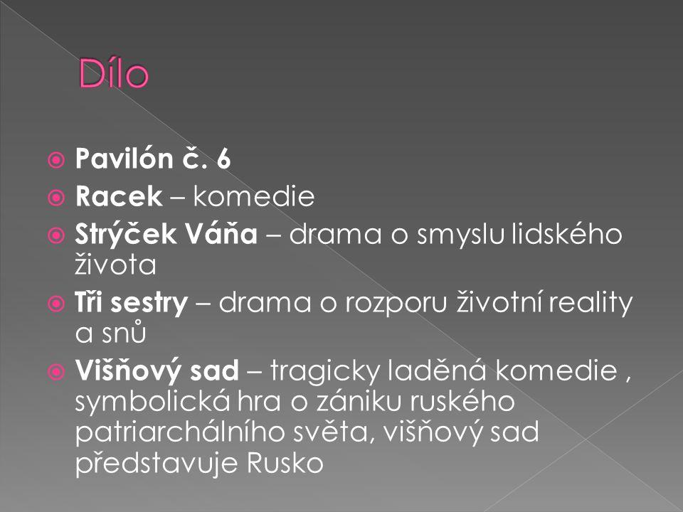  Drama Racek kombinuje pro Čechova velmi typický styl trpké komedie s absencí děje ale i vývoje postav, což je nahrazeno dvouletým časovým skokem mezi třetím a čtvrtým dějstvím.