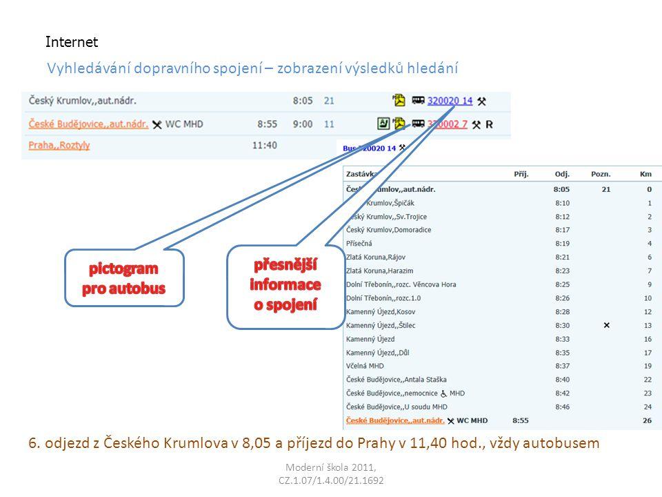 Moderní škola 2011, CZ.1.07/1.4.00/21.1692 Internet Vyhledávání dopravního spojení – zobrazení výsledků hledání 6.