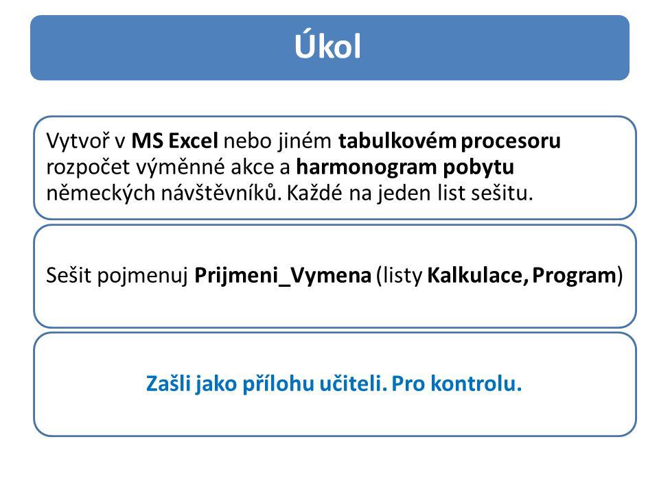 Vytvoř v MS Excel nebo jiném tabulkovém procesoru rozpočet výměnné akce a harmonogram pobytu německých návštěvníků. Každé na jeden list sešitu. Sešit