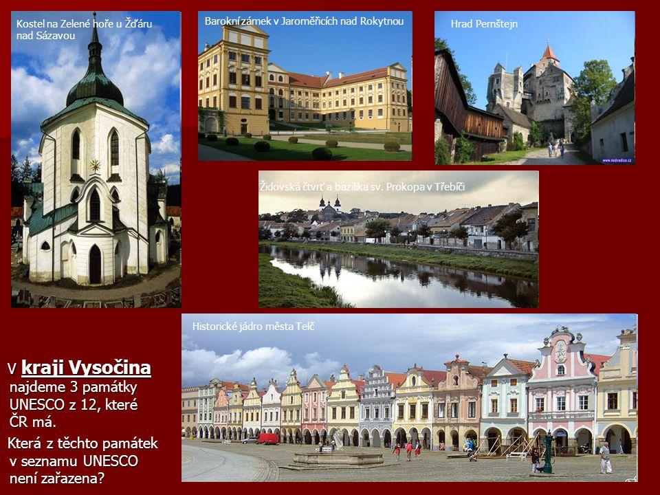 V kraji Vysočina najdeme 3 památky UNESCO z 12, které ČR má.