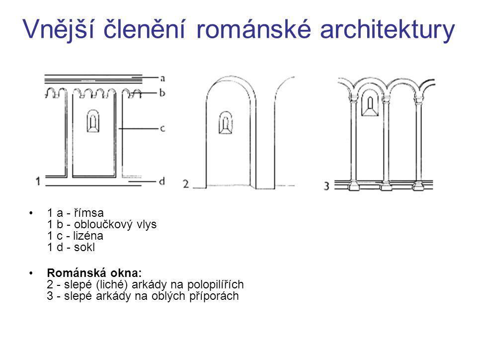 Vnější členění románské architektury 1 a - římsa 1 b - obloučkový vlys 1 c - lizéna 1 d - sokl Románská okna: 2 - slepé (liché) arkády na polopilířích
