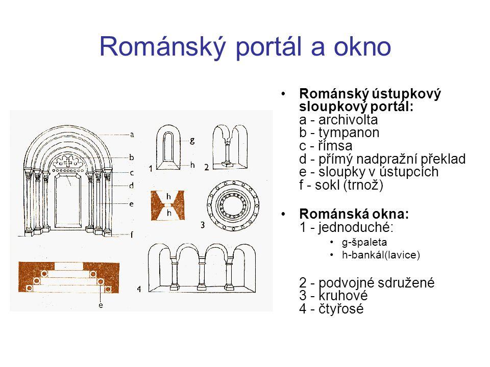 Románský portál a okno Románský ústupkový sloupkový portál: a - archivolta b - tympanon c - římsa d - přímý nadpražní překlad e - sloupky v ústupcích
