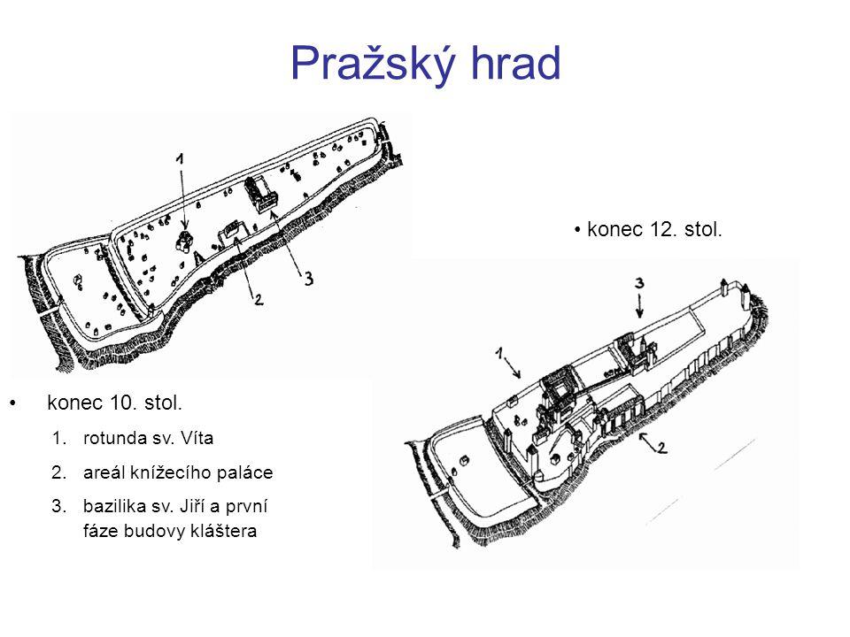 Pražský hrad konec 10. stol. 1.rotunda sv. Víta 2.areál knížecího paláce 3.bazilika sv. Jiří a první fáze budovy kláštera konec 12. stol.
