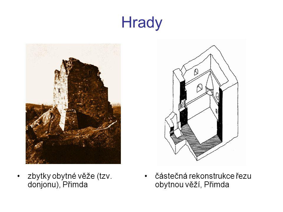 Hrady zbytky obytné věže (tzv. donjonu), Přimda částečná rekonstrukce řezu obytnou věží, Přimda
