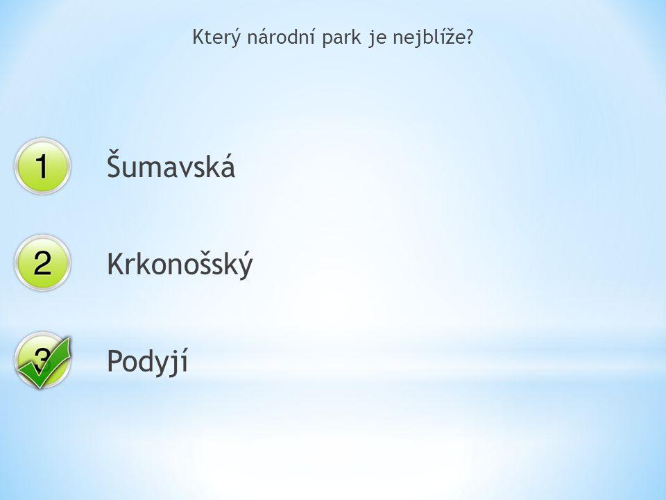 Který národní park je nejblíže Šumavská Krkonošský Podyjí