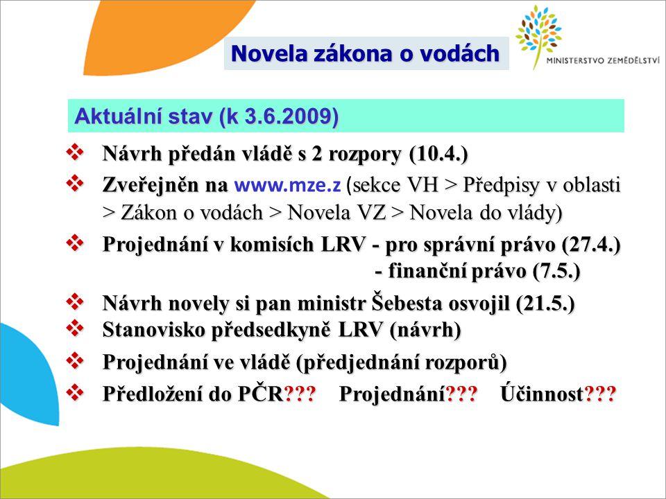 Novela zákona o vodách  Návrh předán vládě s 2 rozpory (10.4.)  Zveřejněn na sekce VH > Předpisy v oblasti > Zákon o vodách > Novela VZ > Novela do