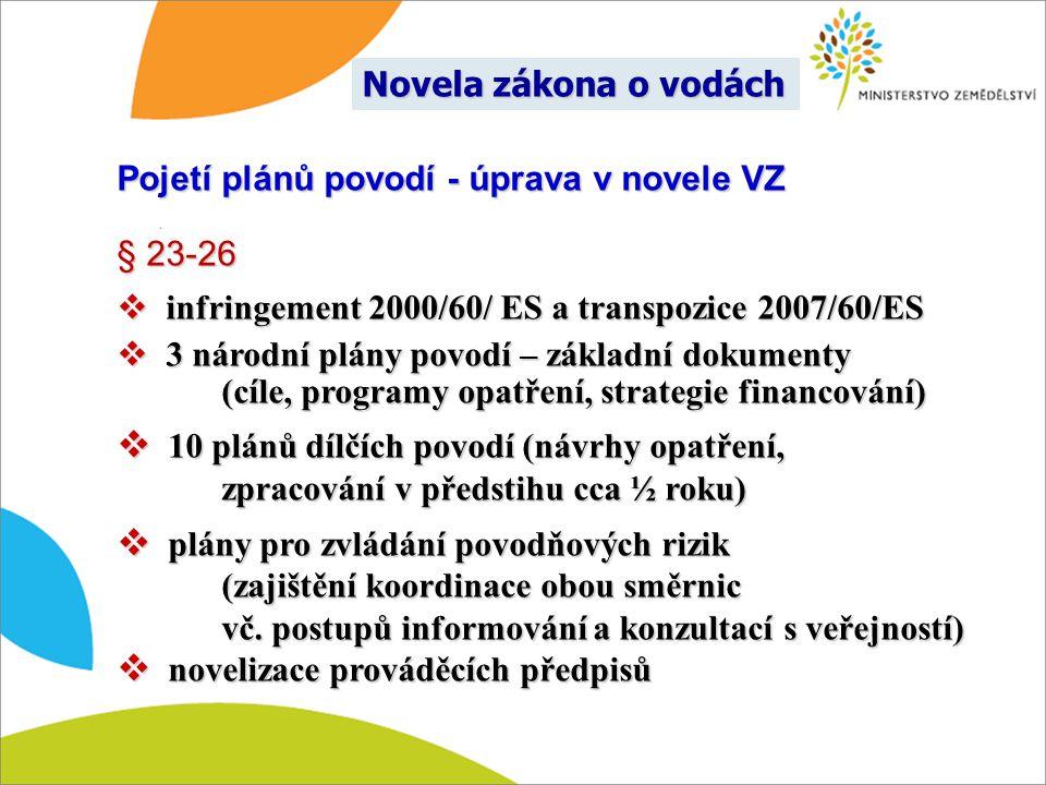Pojetí plánů povodí - úprava v novele VZ § 23-26  infringement 2000/60/ ES a transpozice 2007/60/ES  3 národní plány povodí – základní dokumenty (cí