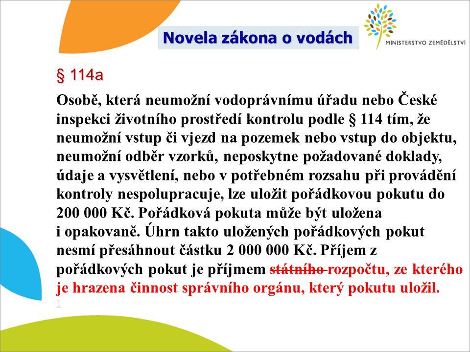 § 114a Osobě, která neumožní vodoprávnímu úřadu nebo České inspekci životního prostředí kontrolu podle § 114 tím, že neumožní vstup či vjezd na pozeme