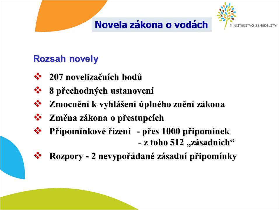 Rozsah novely  207 novelizačních bodů  8 přechodných ustanovení  Zmocnění k vyhlášení úplného znění zákona  Změna zákona o přestupcích  Připomínk